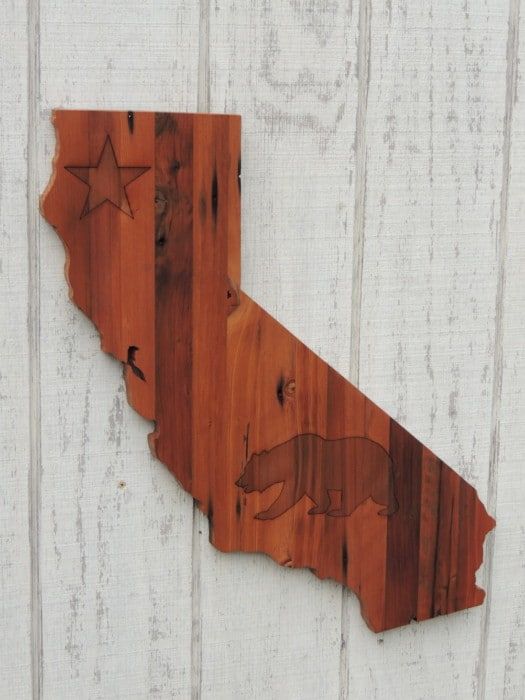 Wooden Sign in the shape of California